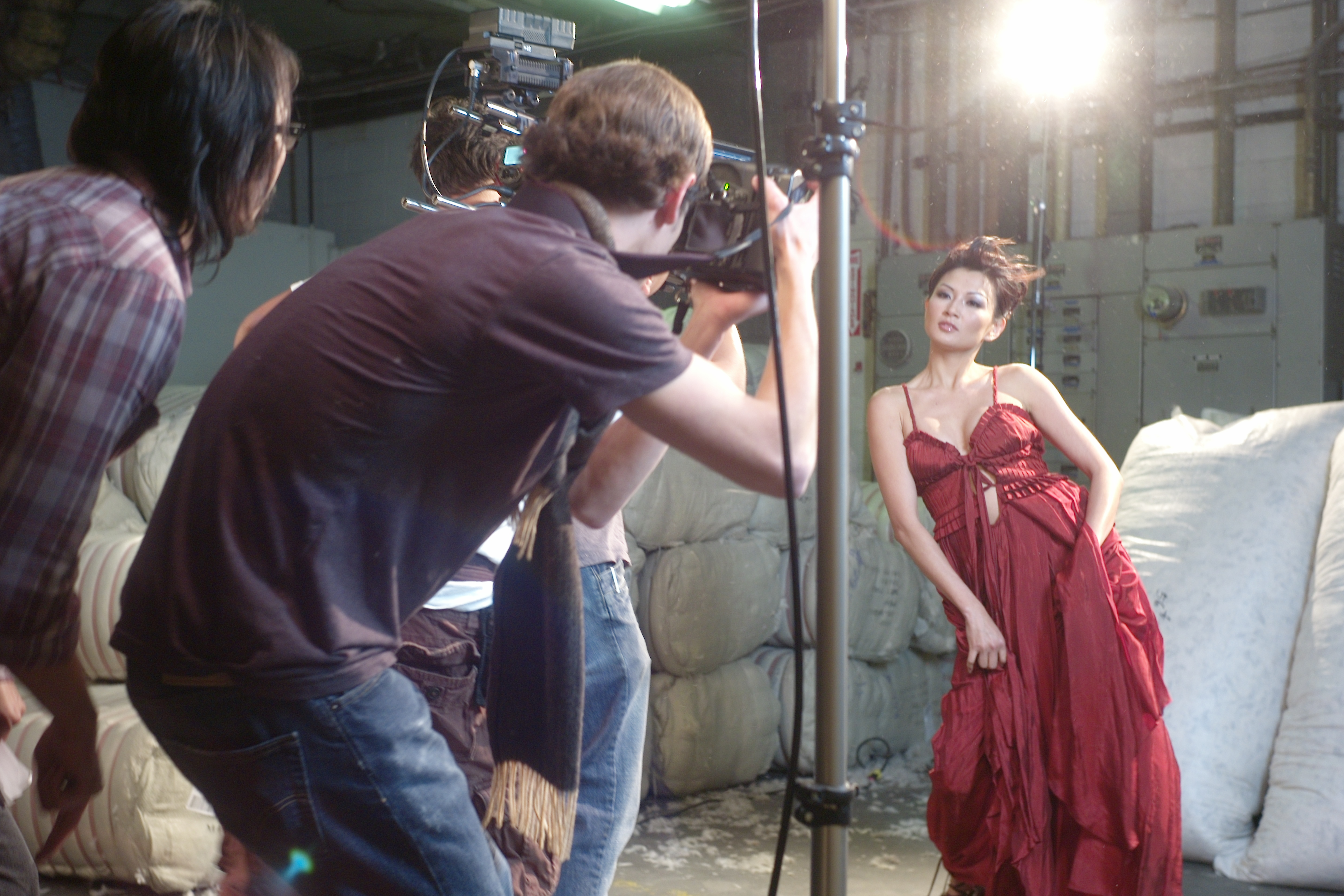 "Michelle Krusiec on set filming ""Dream Bath."""